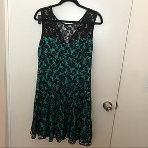 Turquoise and black party dress